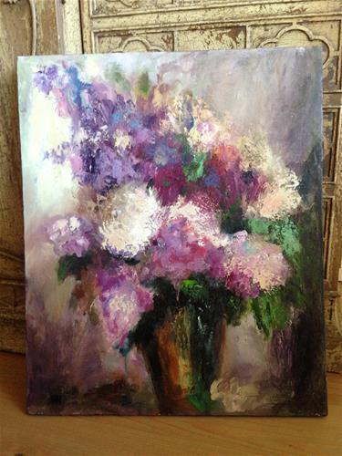 """""""Flowers in purple"""" original fine art by Nina K. Nuanes"""