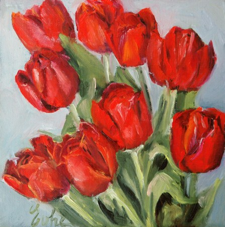 """Les tulipes rouges"" original fine art by Evelyne Heimburger Evhe"