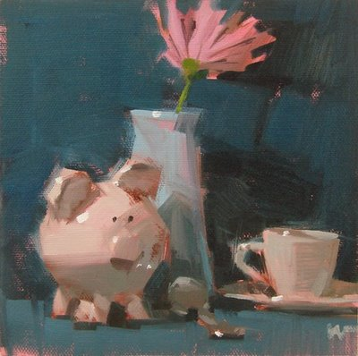 """Pig at Breakfast"" original fine art by Carol Marine"