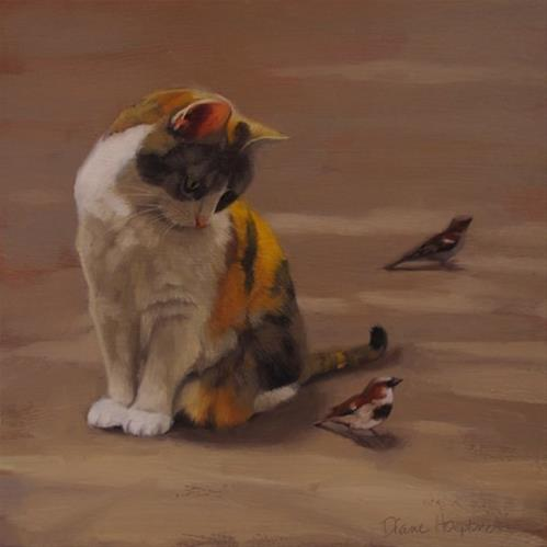 """Cat Considers Sparrow"" original fine art by Diane Hoeptner"