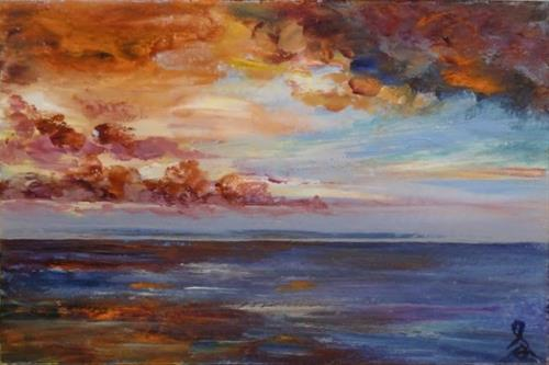 """3173 - Island Sunrise"" original fine art by Sea Dean"