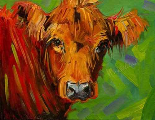 """COW ART OIL PAINTING DIANE WHITEHEAD FINE ART"" original fine art by Diane Whitehead"