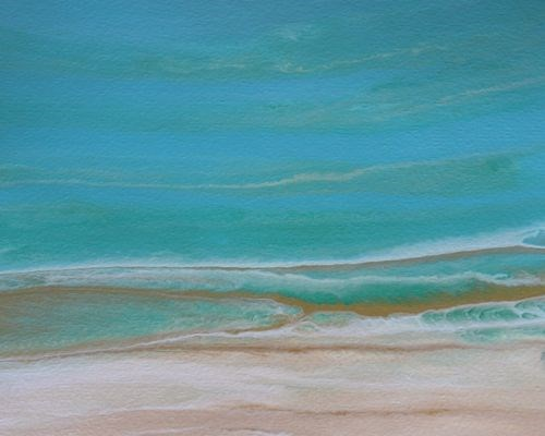 """Abstract Seascape Painting Tropical Whisper  by Colorado Contemporary Artist Kimberly Conrad"" original fine art by Kimberly Conrad"