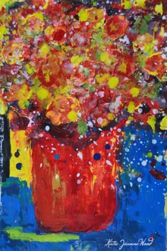 """""""Red and yellow floral painting No 182"""" original fine art by Katie Jeanne Wood"""