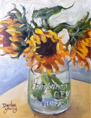 """957 October Sun Flowers, 8x10, oil on board"" original fine art by Darlene Young"