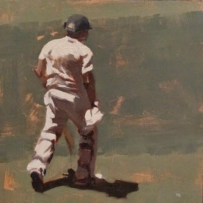 """BATSMAN 2 - Cricket at the MCG"" original fine art by Helen Cooper"