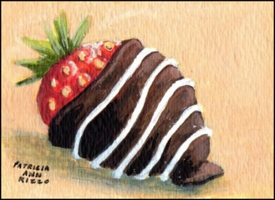 """Chocolate Covered Strawberry"" original fine art by Patricia Ann Rizzo"
