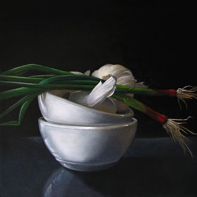 """Garlic and Onions   6x6"" original fine art by M Collier"