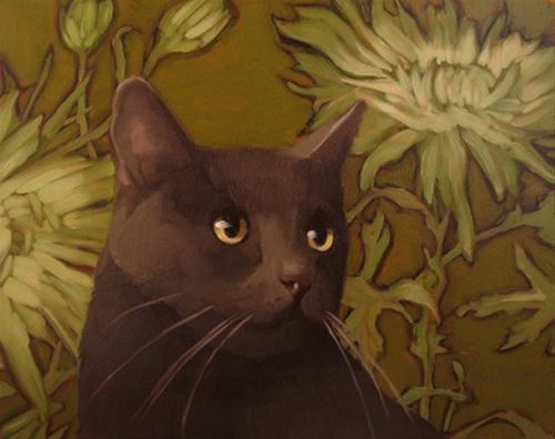 """Mums and Coco modern contemporary cat painting"" original fine art by Diane Hoeptner"