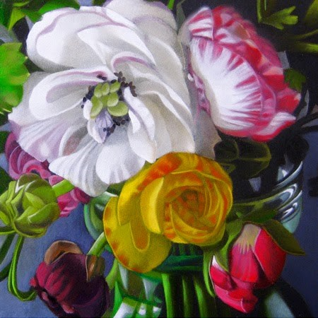 """Ranunculus 4x4"" original fine art by M Collier"