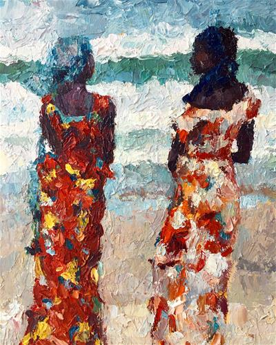 """Fisher Women of Senegal"" original fine art by Nava Judith"