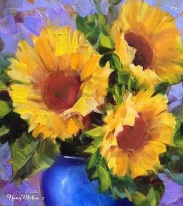 """Fresh Sunflowers and A Fredericksburg Art Weekend Invitation by Texas Artist Nancy Medina"" original fine art by Nancy Medina"