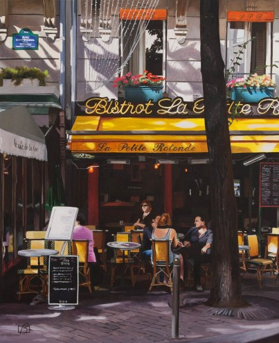 """Bistrot La petite rotonde"" original fine art by Andre Beaulieu"