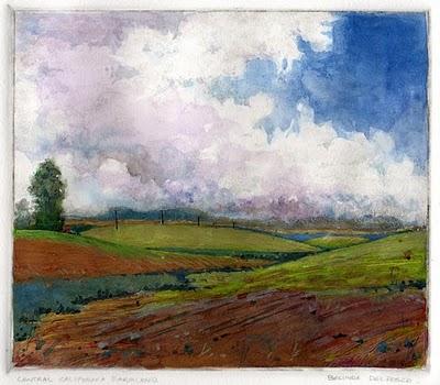 """""""Monotype: Central California Farmland"""" original fine art by Belinda Del Pesco"""
