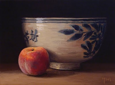 """""""Peach with Chinese Bowl"""" original fine art by Abbey Ryan"""