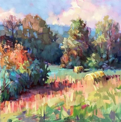 """""""Two Hay Rolls"""" original fine art by Trisha Adams"""
