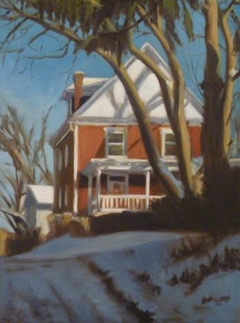 """Red House in a Snowy Alley"" original fine art by Jonelle Summerfield"