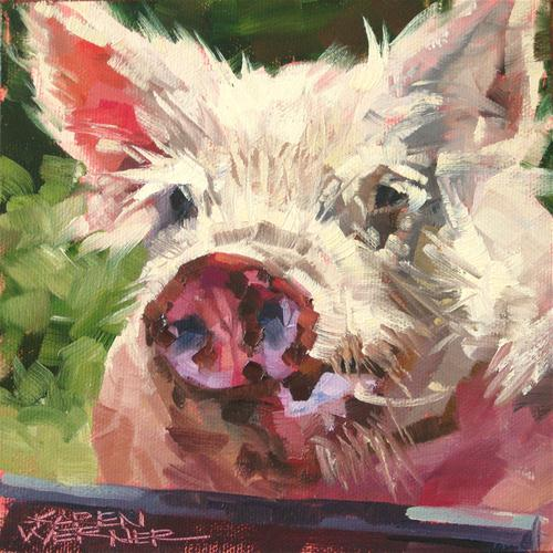 """Obnoxious Pig"" original fine art by Karen Werner"