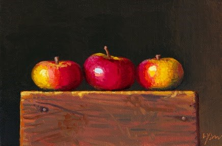 """Three Lady Apples  (+ New Free Video: What's On My Palette)"" original fine art by Abbey Ryan"