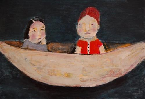 """2 Girls in a Boat"" original fine art by Katie Jeanne Wood"