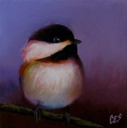 """Purple Chickadee Love"" original fine art by ~ces~ Christine E. S. Code"