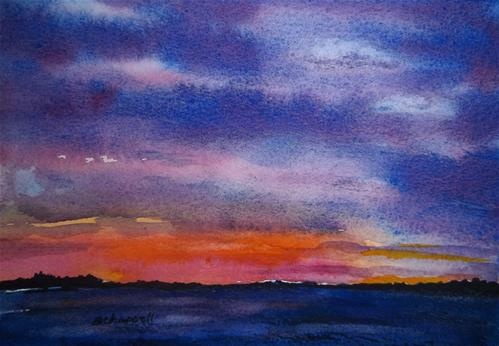 """Sunset on the Plain"" original fine art by Becky Chappell"