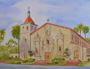 """Santa Clara Mission"" original fine art by Robert Frankis"