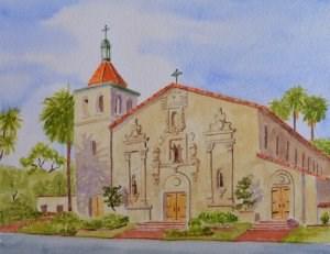 """Santa Clara Mission"" original fine art by Robert Frankis"