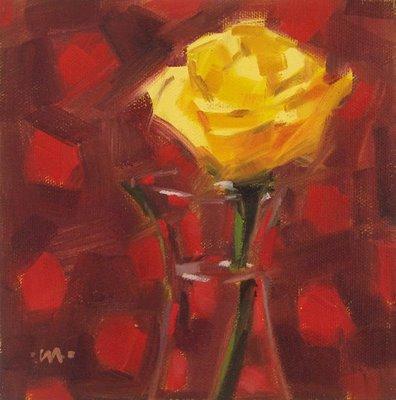 """Rose on Dots"" original fine art by Carol Marine"