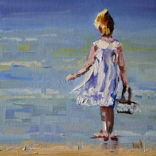 """GIRL BEACH OIL PAINTING 6X6 DIANE WHITEHEAD FINE ART"" original fine art by Diane Whitehead"