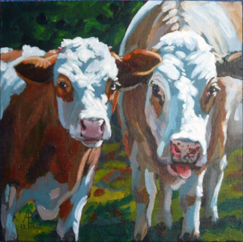 """Curious cows"" original fine art by Alix Baker PCAFAS AUA"