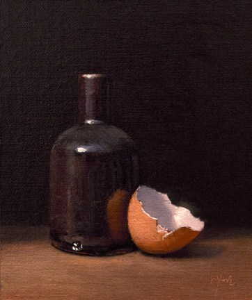 """Still Life of Handmade Bottle with Eggshell"" original fine art by Abbey Ryan"