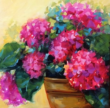 """Pink Renewal Hydrangeas - Flower Garden Tours and Paintings by Nanc"" original fine art by Nancy Medina"
