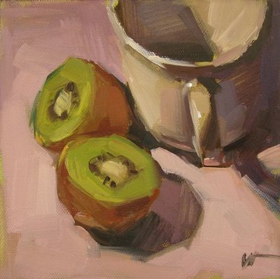"""A Cup and Kiwi"" original fine art by Carol Marine"