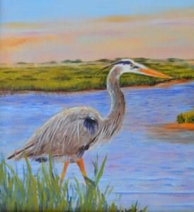 """Blue Heron"" original fine art by Robert Frankis"