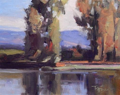 """River Reflections  mini,oil, landscape painting by Robin Weiss"" original fine art by Robin Weiss"