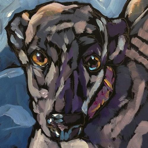 """Woofstock Greyhound"" original fine art by Kat Corrigan"