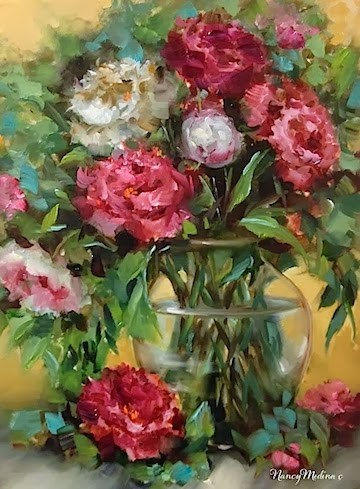 """Tickled Pink Peonies and a Workshop Surprise by Nancy Medina"" original fine art by Nancy Medina"