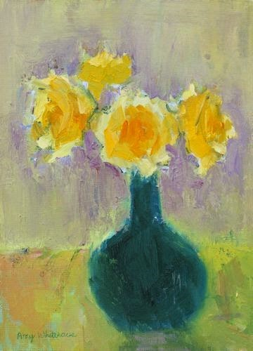 """Yellow Roses, Contemporary Floral Paintings by Arizona Artist Amy Whitehouse"" original fine art by Amy Whitehouse"