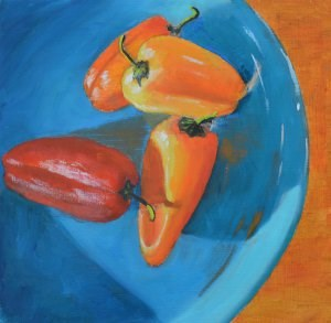 """Hot Peppers on a Cool Plate"" original fine art by Robert Frankis"