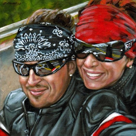 """At Arms Length#20, Cathy and Harold... Easy Rider series 6X6 acrylic on wood Panel"" original fine art by Angela Hardy"