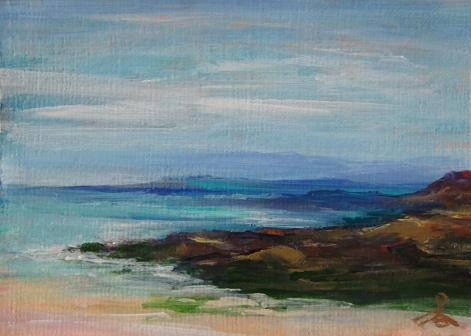 """3076 - ROCKY POINT -  ACEO Series"" original fine art by Sea Dean"