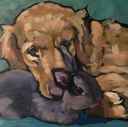 """Rosie and Lola"" original fine art by Kat Corrigan"