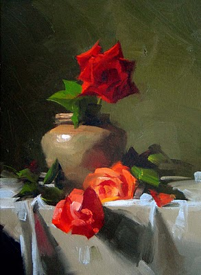"""Three Roses"" original fine art by Qiang Huang"