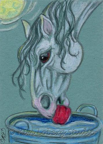 """Dobbin Bobbin' for Apples"" original fine art by Kim Loberg"