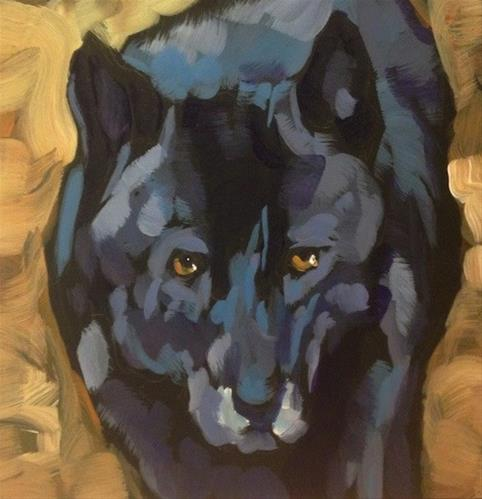 """Black Wolf Portrait"" original fine art by Kat Corrigan"