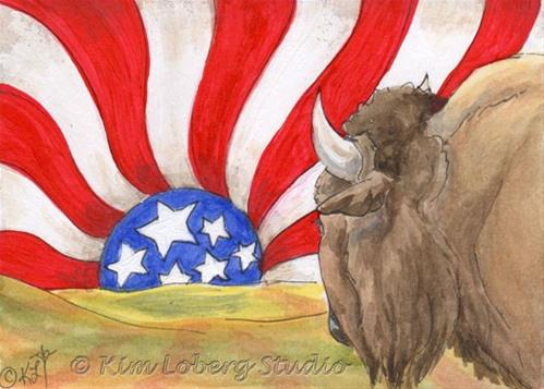 """Buffalo Watching An American Sunset"" original fine art by Kim Loberg"