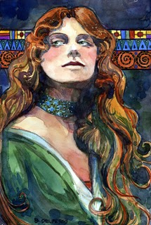 """Watercolor: Mucha's Model Poses for Klimt"" original fine art by Belinda Del Pesco"