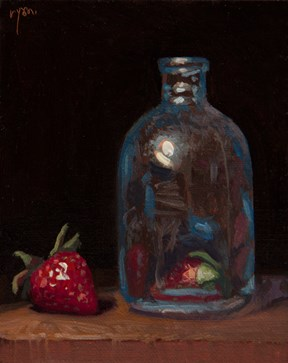 """Glass Bottle with Two Strawberries (magic is still possible)  (+ Live Demo Tomorrow)"" original fine art by Abbey Ryan"