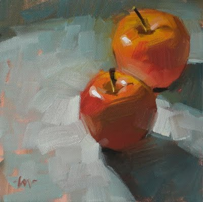 """Don't Look Back & Painted Apples"" original fine art by Carol Marine"